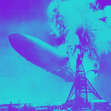 Hindenburg zeppelin explosion in a blue and purple filter