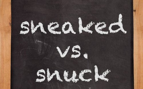 snuck, sneaked, chalkboard