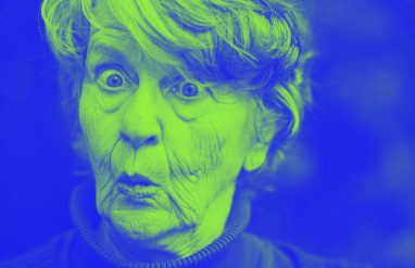 elderly woman making silly face