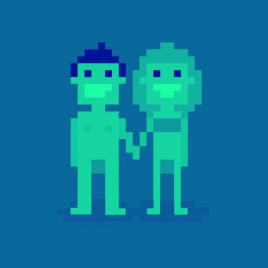 blue background with pixel people, a pixel man and woman holding hands