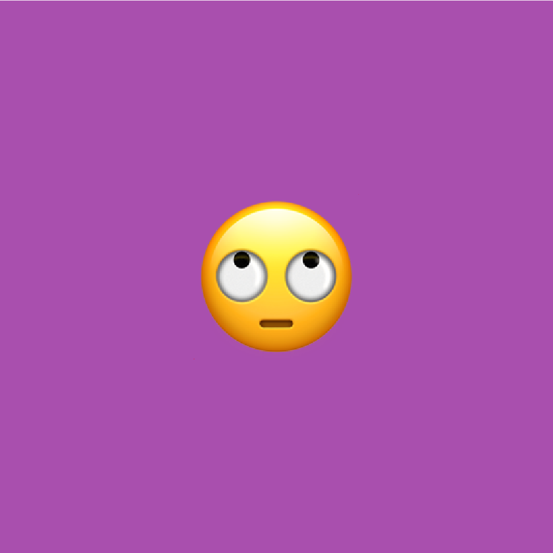 purple background with face with rolling eyes emoji on it