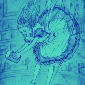 Alice falling down a hole with a jar in hand