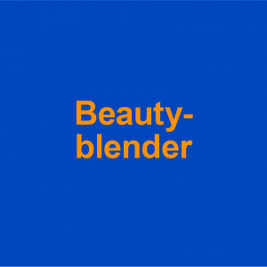 blue background with orange words, beauty-blender on it