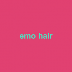 pink background with green words emo hair on it