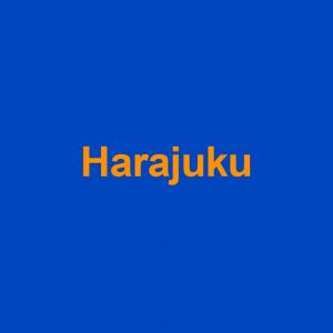 blue background with orange word harajuku on it