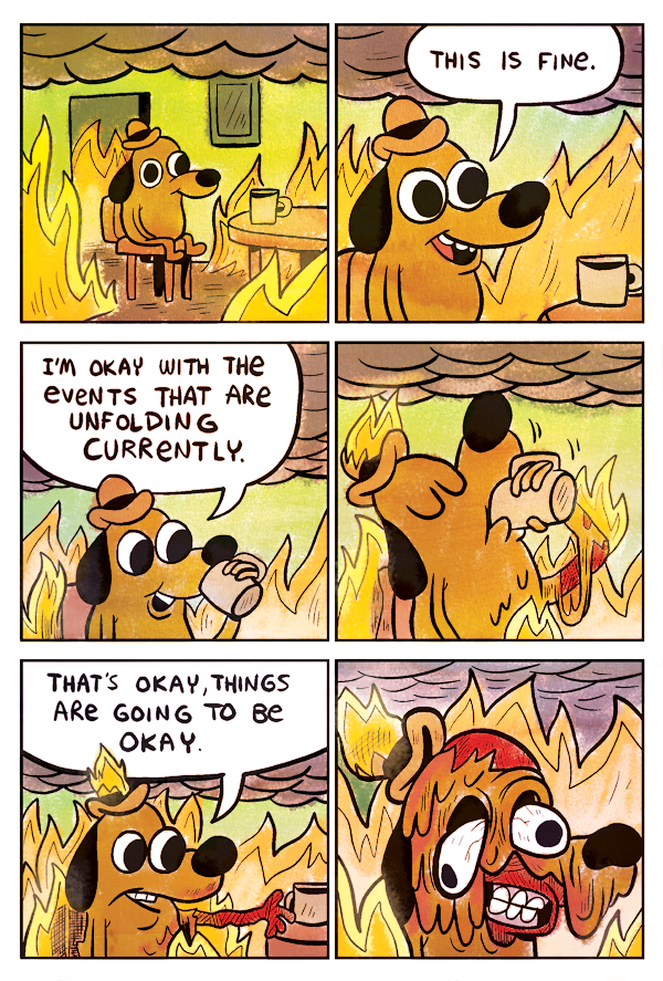KC Green's full This Is Fine dog comic strip