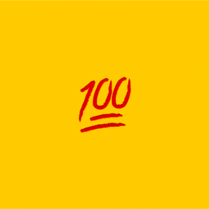 yellow background with 100 emoji on it