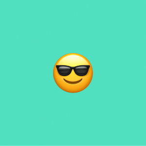 teal background with sunglasses emoji on it