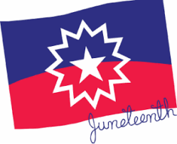 The Juneteenth Flag, which is a rectangle whose top half is blue and bottom half is red, with a single white star in its center, outlined with a star-like burst.