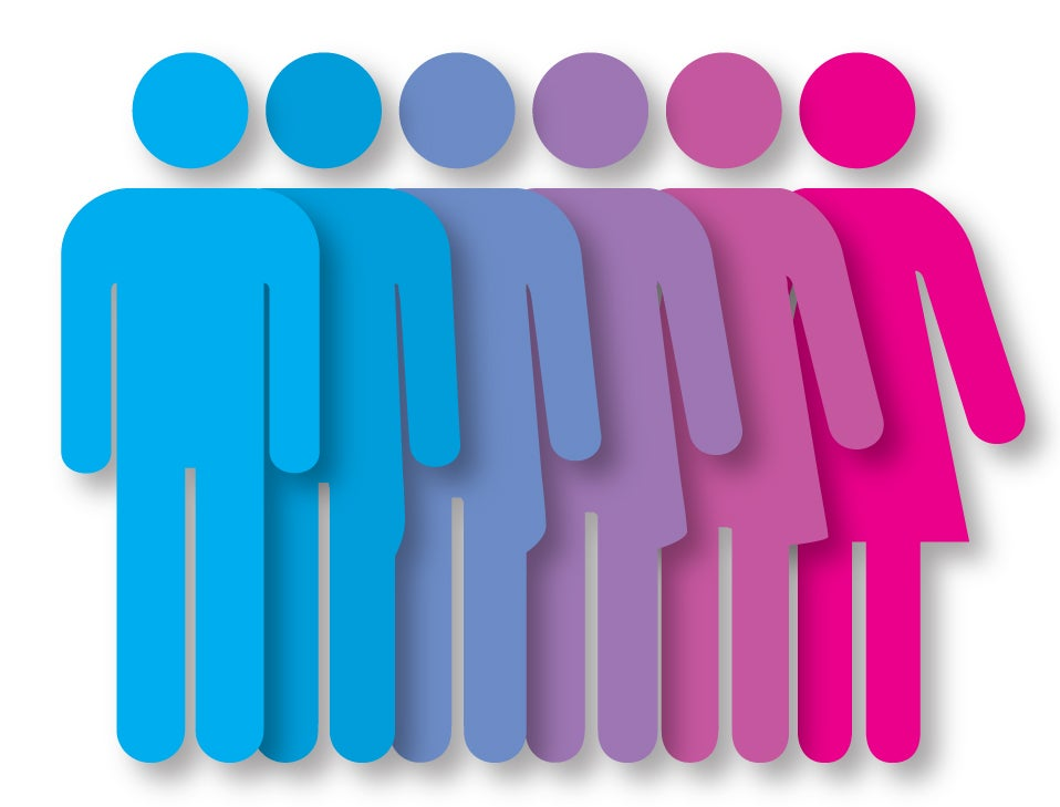 Genders in different colors representing the spectrum of identification