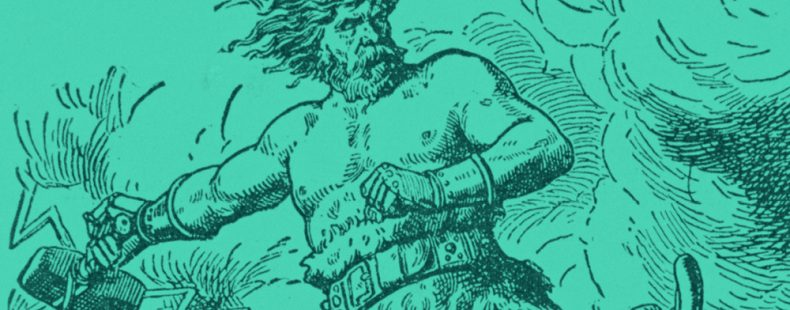 drawing of Norse god, Thor in green background