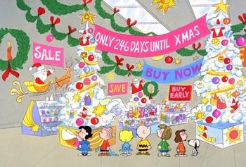 "the characters from the Charlie Brown comic strip and cartoons walk around a department store that advertises to its shoppers ""only 246 days until xmas"""