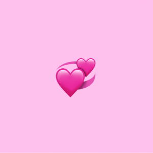 pink background with revolving hearts emoji