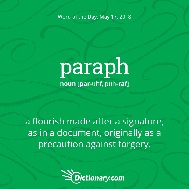 ea82f5b0a Word of the Day - paraph | Dictionary.com