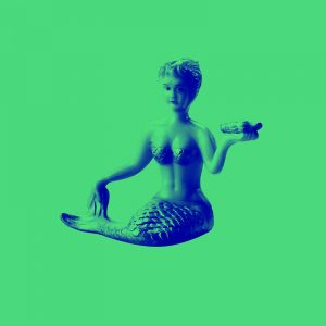 green background with mermaid on it