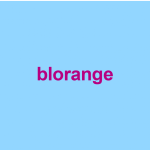 light blue background with purple words saying blorange on it