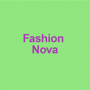 green background with purple words fashion nova on it