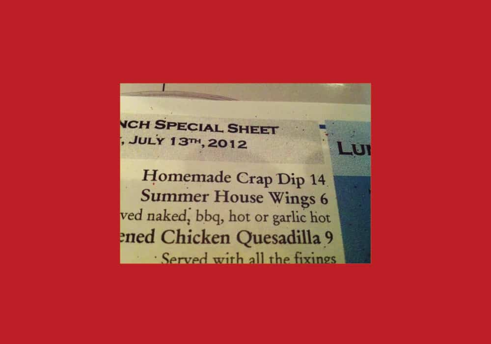 Store-bought crap dip typo