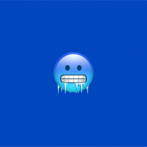 blue background with cold face emoji on it