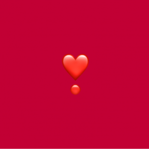 dark red background with heart exclamation emoji on it