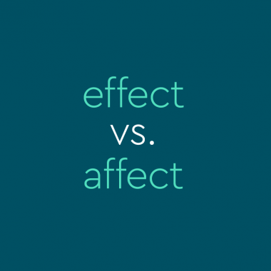 "Dark green background with teal text that says ""effect vs. affect"""