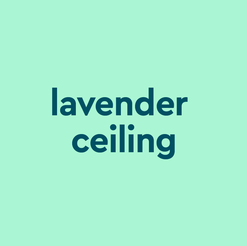 Light green background with dark green centered text that reads lavendar ceiling