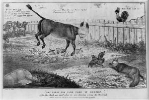 Andrew Jackson depicted as a donkey in a cartoon