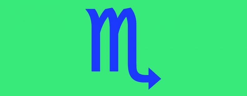 scorpio symbol in blue text on a green background