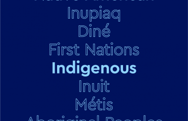 "Text that says ""Indigenous"" and lists Native American tribes on a dark blue background"
