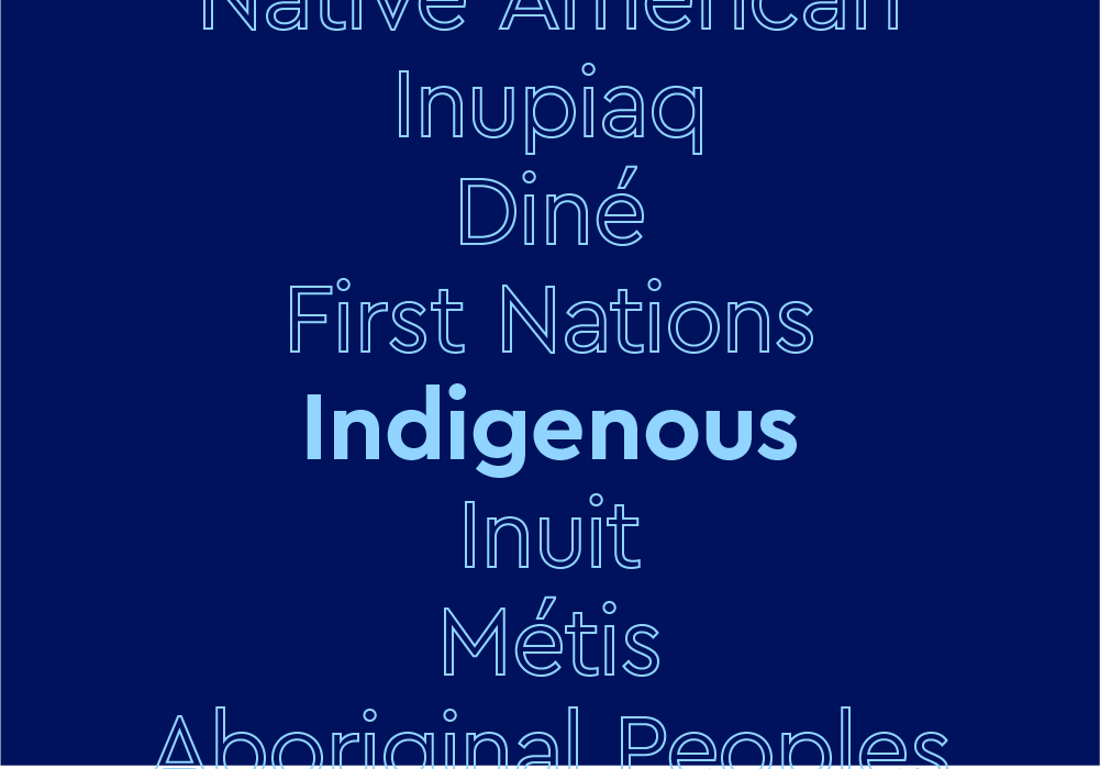"""Text that says """"Indigenous"""" and lists Native American tribes on a dark blue background"""