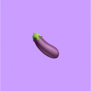 eggplant emoji on light purple background