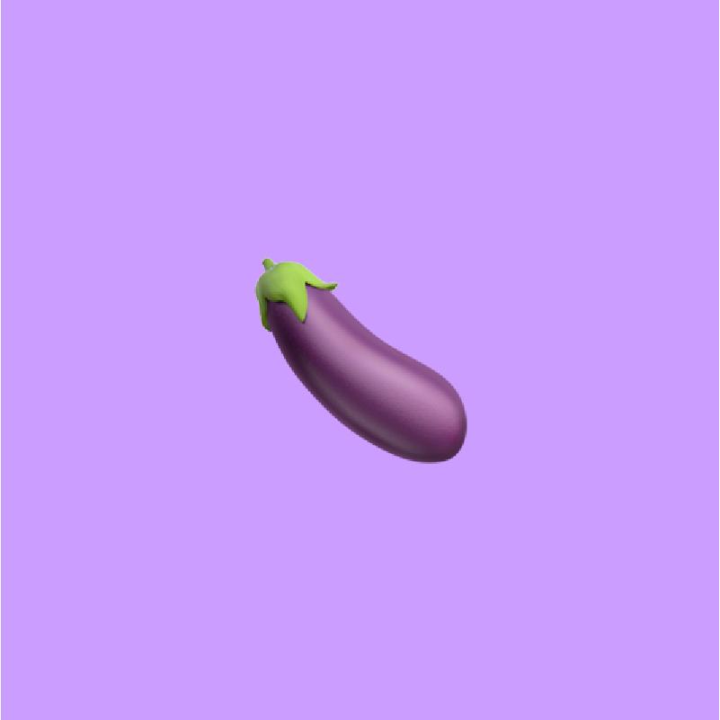eggplant emoji on light purple background