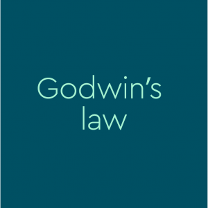 greenish-blue background with words Godwin's law on it
