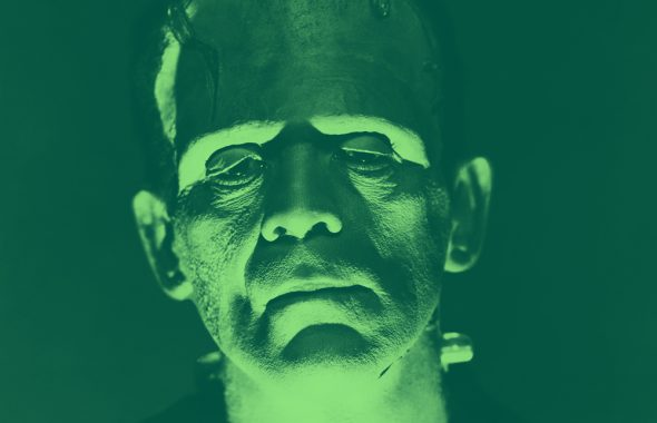 headshot of Frankenstein's monster